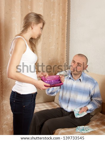Financial problems have a husband and wife - stock photo