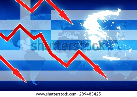 financial problems in Greece flag and red arrows - concept news background illustration - stock photo