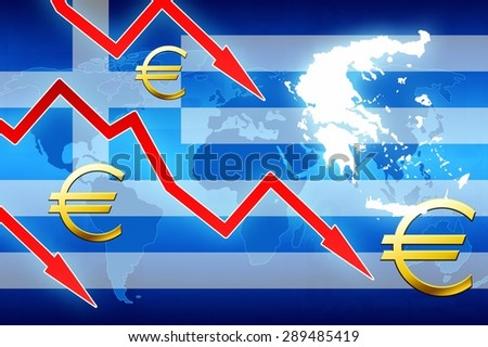 financial problems in Greece red arrows euro currency symbol concept news background illustration - stock photo