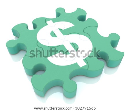 Financial puzzle. puzzle pieces that form the symbol of dollar currency  - stock photo