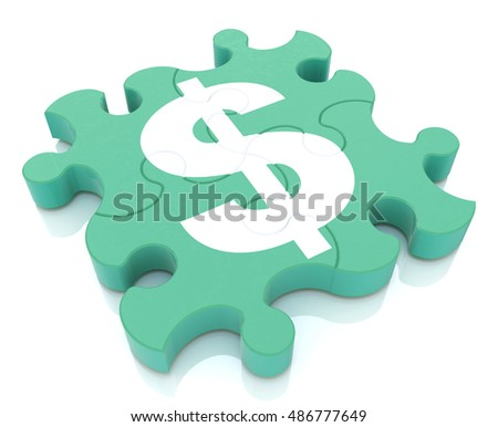 Financial puzzle when creating a design to information related to the economy and money. 3d illustration