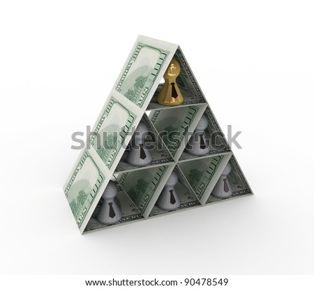 Financial pyramid concept.Isolated on white background.3d rendered. - stock photo