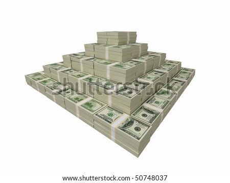 Financial pyramid made of 100 usd banknotes.High resolution 3D rendering. - stock photo