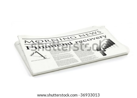 financial recovery newspaper generic mock up design