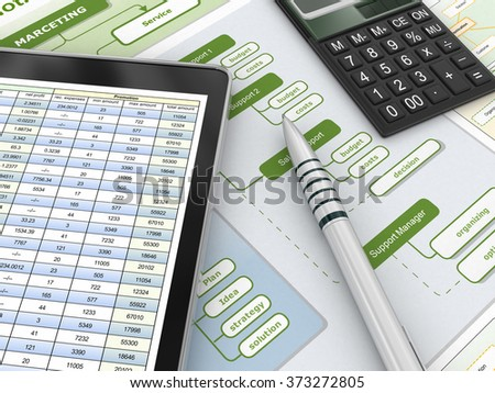 Financial report and digital tablet - stock photo