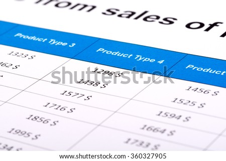 Financial report sales in the form table on paper