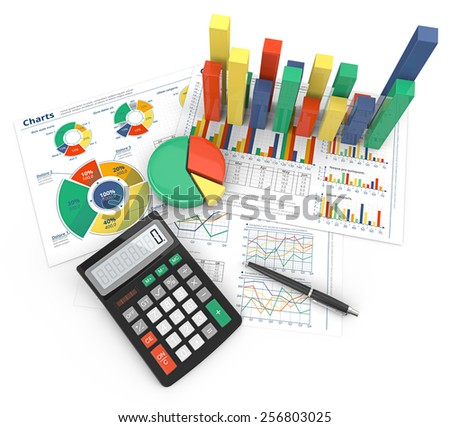 Financial Reports. Abstract colorful infographics documents and 3D graphs and charts.