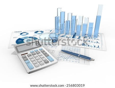 Financial Reports. Abstract infographics documents and 3D graphs and charts. - stock photo
