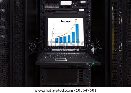 Financial revenue Information show on the server computer KVM display in the modern interior of data center. Super Computer, Server Room. - stock photo
