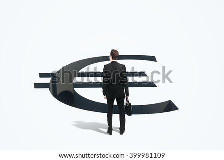 Financial risk concept with businessman standing in front of euro sign pit. 3D Rendering - stock photo