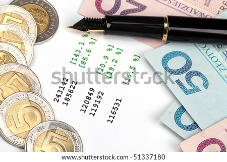 Financial risk. Pen and Polish Currency on the document with quotes. - stock photo