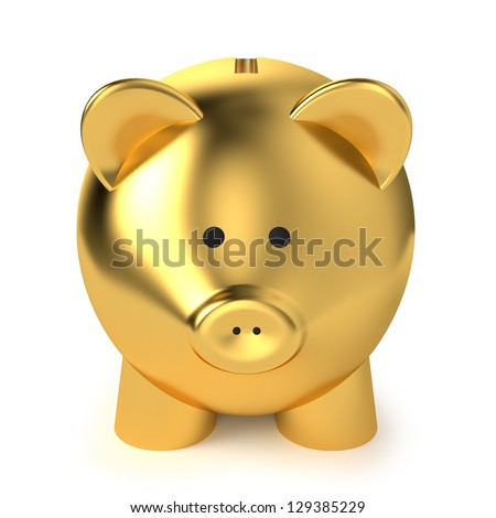 Financial, savings and business concept with a golden piggy bank or money box on white background. - stock photo
