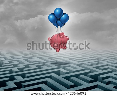 Financial savings support concept as a finance leadership solution with a piggybank or piggy bank flying above a maze as a business motivation metaphor of innovative thinking as a 3D illustration. - stock photo