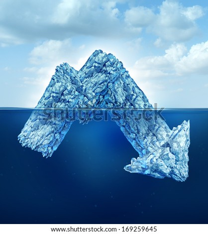 Financial secrets and hidden losses as a business concept for risk as an iceberg shaped as a downward finance chart arrow for hidden dangers hiding negative facts and company debt under the water. - stock photo