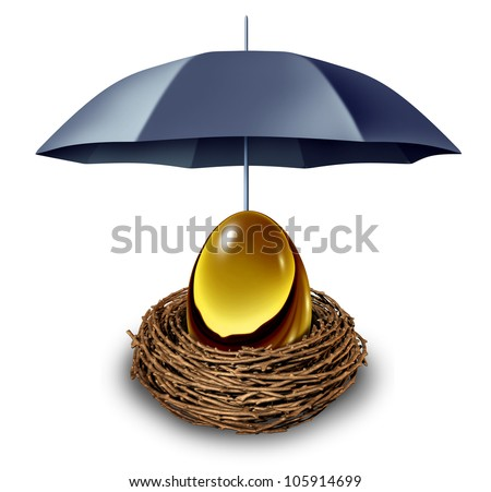 Financial security and retirement fund symbol with a golden egg in a nest protected by a black umbrella against down turns in the economy and as a tax shelter on a white background. - stock photo