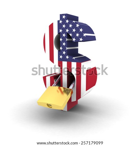 Financial Security Concept - Padlocked US Flag Dollar Symbol - stock photo