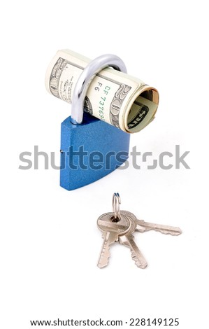 Financial Security. Money roll in the padlock for security. Isolated on white - stock photo