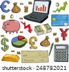 Financial set on white background raster version - stock photo