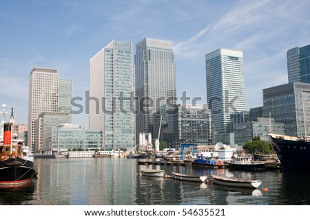 financial skyscrapers of London's docklands - stock photo