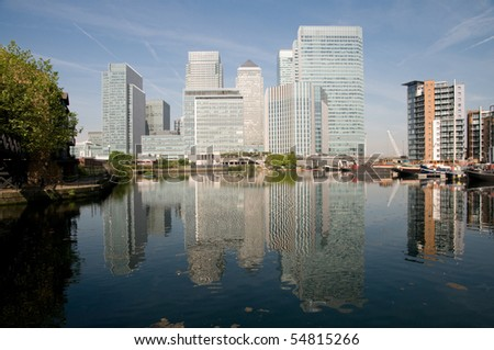 financial skyscrapers of London's docklands