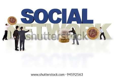 Financial social network  isolated over a white background - 3D text - stock photo