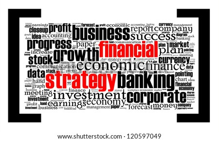 Financial strategy info-text graphics arrangement concept on white background