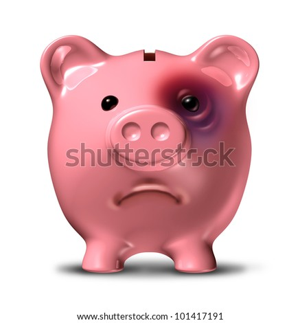 Financial stress and debt crisis as a bad investment business concept with a pink piggy bank with a painful black eye as an icon of broken home finances and budget problems due to the recession. - stock photo