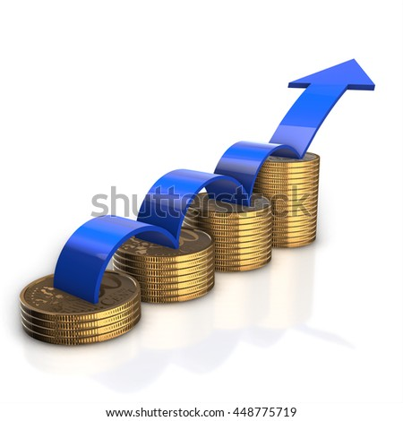 Financial success concept. Blue arrow up and bar chart diagram of golden dollar coins isolated on white background. 3d render - stock photo