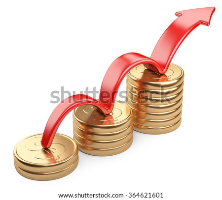 Financial success concept. Red arrow up and bar chart diagram of golden dollar coins isolated on white background