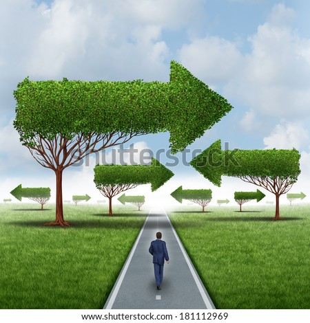 Financial success direction as a businessman walking around a group of confusing arrow trees on a straight focused path to opportunity as a business metaphor for leadership solution challenges. - stock photo