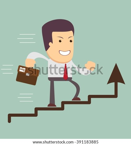 Financial success, running man with a briefcase, line graph uptrend - Businessman run in a Growth. Stock illustration - stock photo