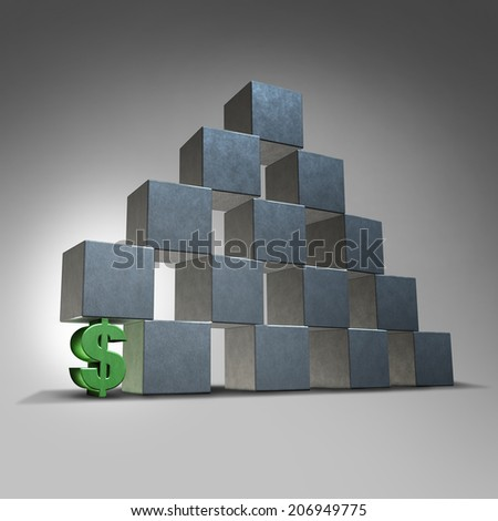 Financial support business and finance concept as a dollar sign representing investment to help a group of blocks as an icon of a struggling organization that needs investing to expand opportunities. - stock photo