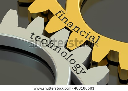 Financial Technology concept on the gearwheels, 3D rendering - stock photo