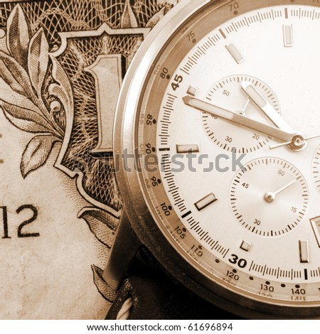 financial time concept with money and watch - stock photo