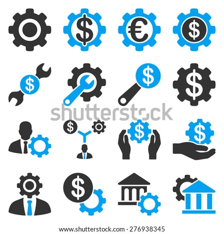 Financial tools and options icon set. These icons use modern corporate light blue and gray colors, white color is not used in the symbols. - stock photo