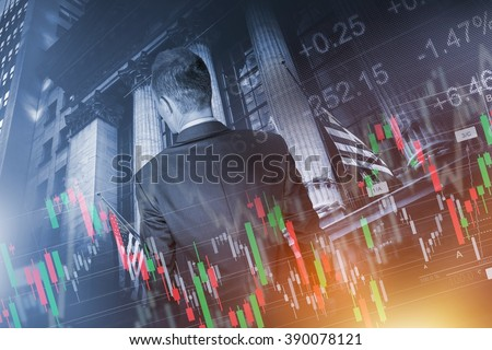 Financial Trader Concept. Global Economy and Financial Conceptual Illustration with Young Trader In Front of Stock Market Building. - stock photo