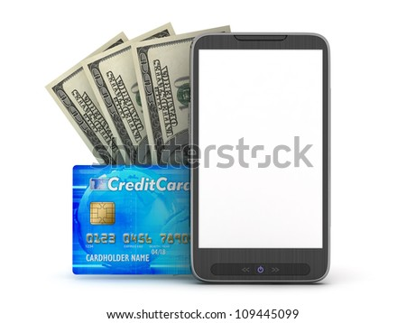 Financial transactions by mobile phone - concept illustration - stock photo