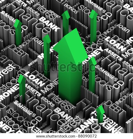 Financial Words -  Arrows Up - stock photo
