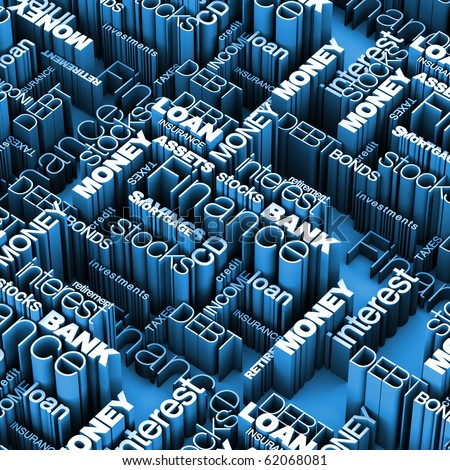 Financial Words 3D Blue - stock photo