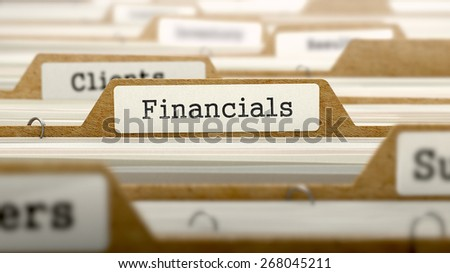 Financials Concept. Word on Folder Register of Card Index. Selective Focus. - stock photo