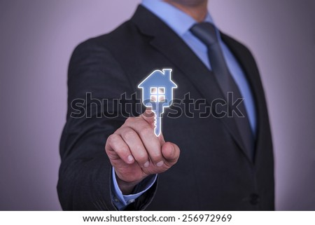 Find a House in internet - stock photo