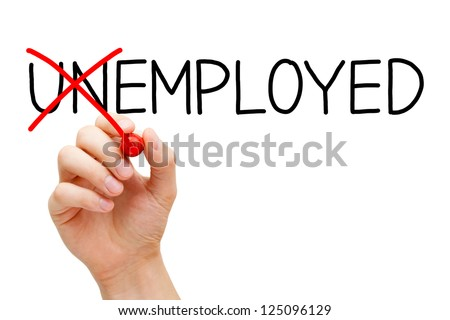 Find a new job. Hand turning the word Unemployed into Employed with red marker isolated on white. - stock photo