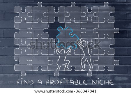 find a profitable niche: men completing a jigsaw puzzle with the missing piece
