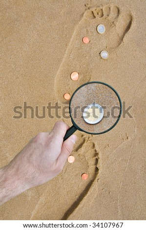 find coins with lens on the footprints