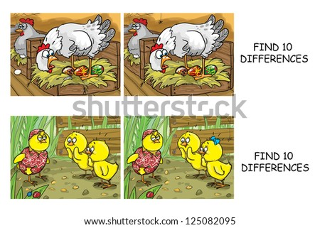 Find 10 differences comics, spot the differences visual puzzle, set 36 (other sets are also available) - stock photo