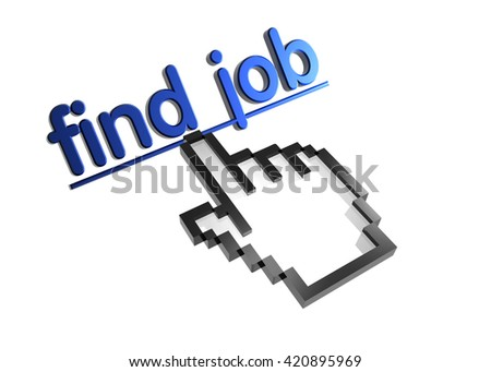 find job. 3d rendered inscription. Link and finger, pointer. Isolated on white - stock photo