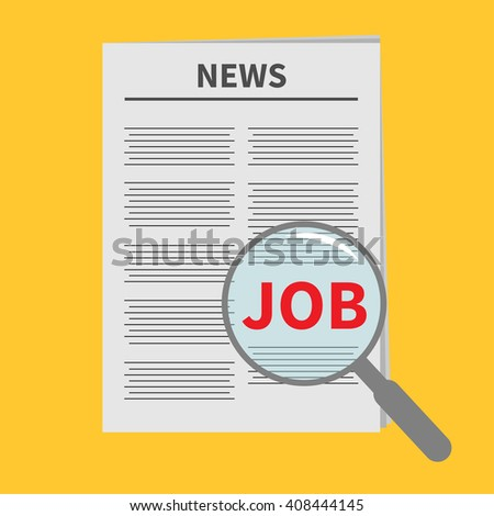 Find job Newspaper icon Optic glass instrument Magnifier Search Flat design Isolated Yellow background - stock photo
