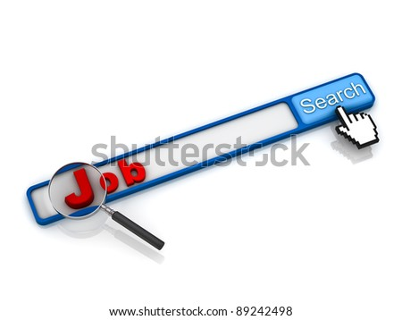 Find job on the internet concept, magnifying glass and red job text in the box of search engine button - stock photo