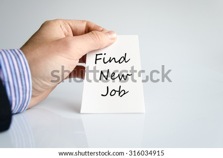 Find new job text concept isolated over white background - stock photo