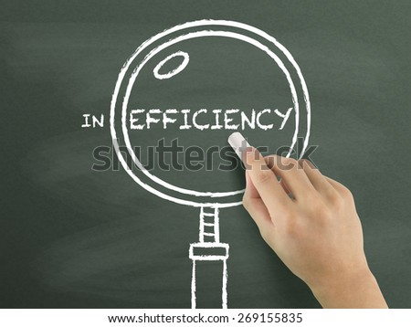 find out efficiency with magnifying glass drawn by hand over chalkboard  - stock photo